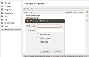 VirtualBox - Paylaşılan Dizinler